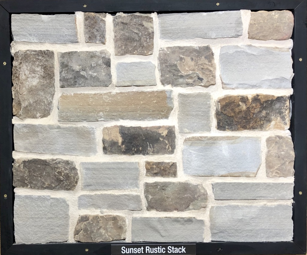 Sunset Rustic Stack Exterior Stone Sample by Lamb Stone