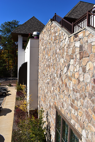 Cottage Mosaic exterior stone installed at the Grand Bohemian Hotel - Real Rock - Lamb Stone