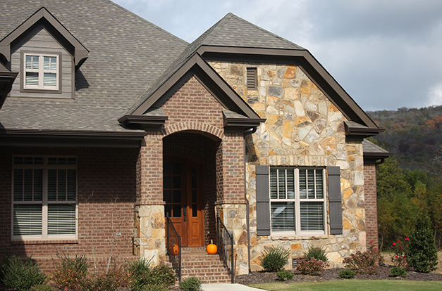 Sunrise Mosaic Exterior Stone installed on a private residence - Real Rock - Lamb Stone